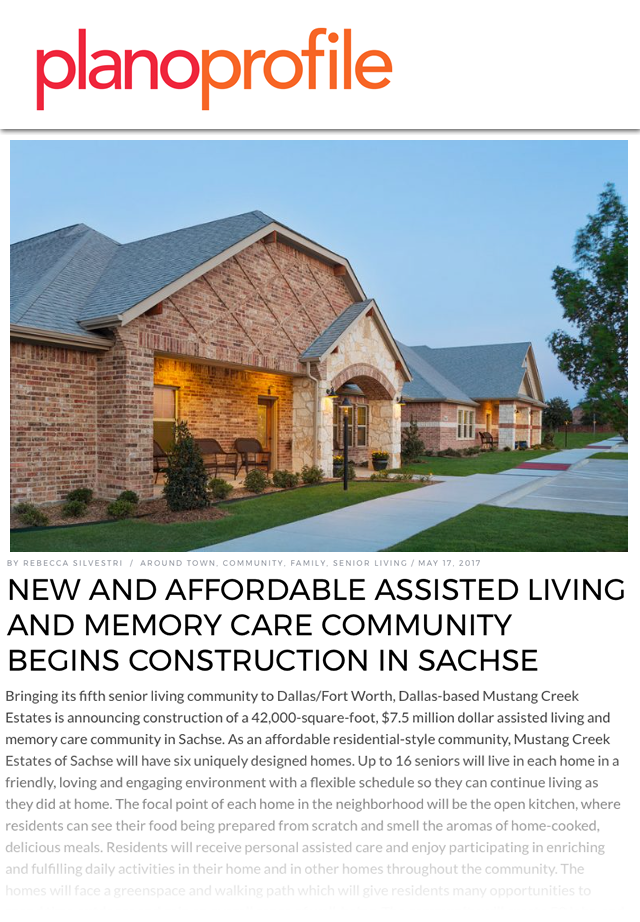 New and affordable Assisted Living and Memory Care Community begins construction in Sachse