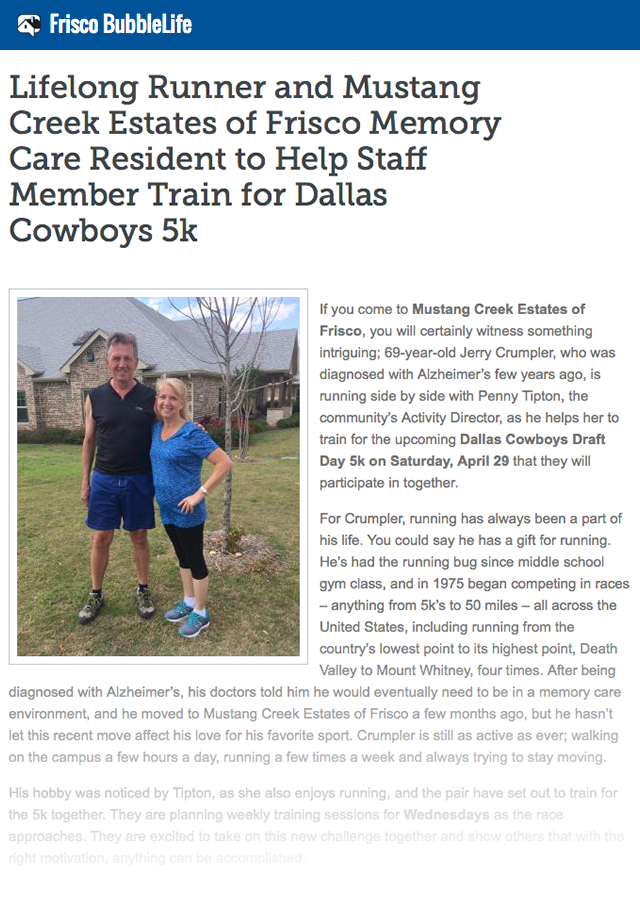 Lifelong Runner and Mustang Creek Estates of Frisco Memory Care Resident to Help Staff Member Train for Dallas Cowboys 5k