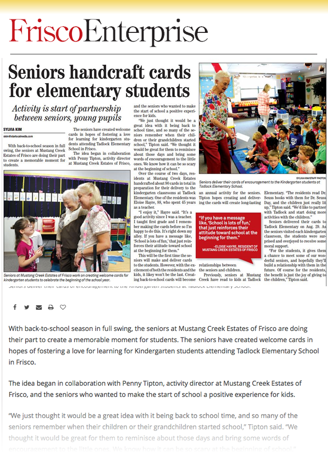Frisco Senior Living Community Establishes Partnership and Public Drive to Provide Supplies to Polly Tadlock Elementary School Teachers Dallas Morning News